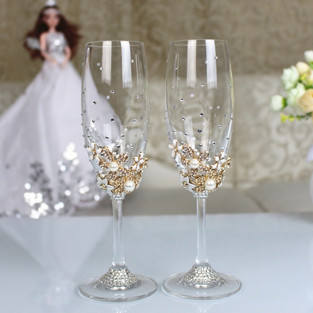 decorate champagne glasses. 1 set Personalized Wedding Set Champagne Glasses Diamond Decoration For  Dinner Party