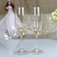 1 set Personalized Wedding Set Champagne Glasses Diamond Decoration For Wedding Dinner Party Decoration