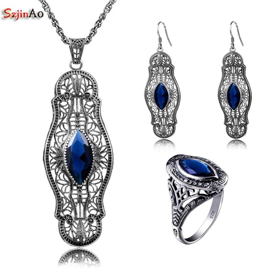 Здесь продается  Szjinao Captivating Sapphire Real 925 Sterling Silver Jewelry Vintage Sets For Women Fashion Crystal Pendant Earrings Ring  Ювелирные изделия и часы