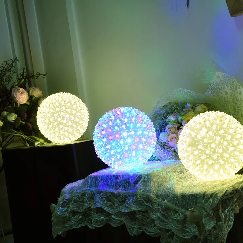 Dia 12cm 20cm 30cm LED Cherry Blossom Flower Ball String  Lights Lamp Holiday Christmas New Year Wedding Party Garland Lights