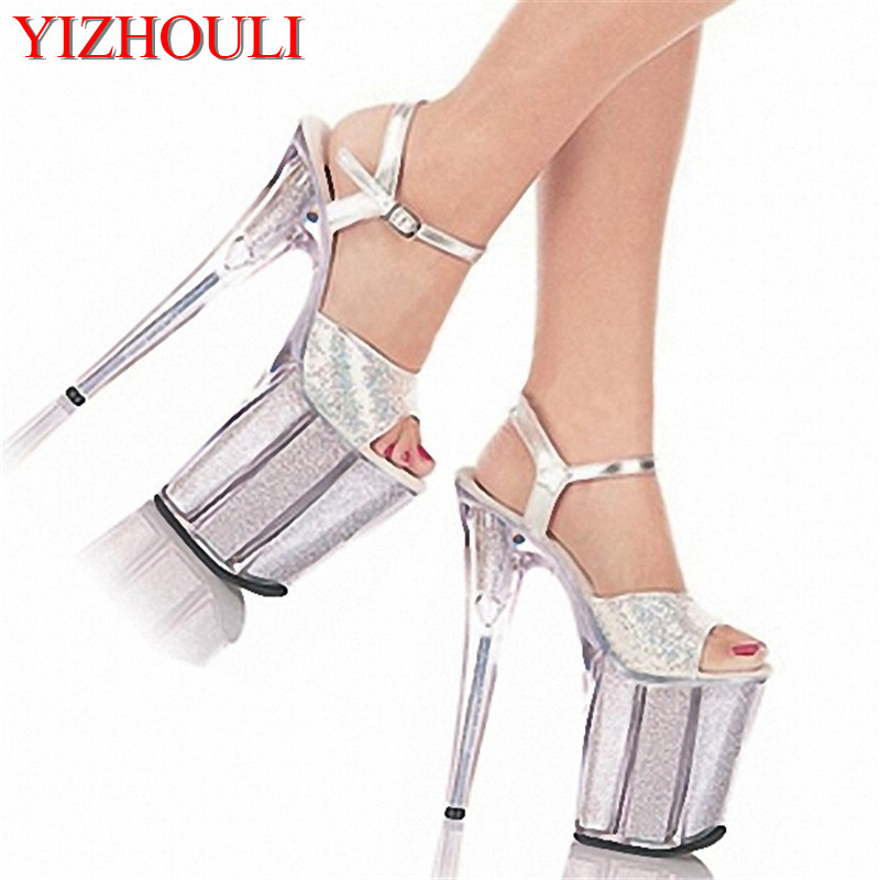 Hong Kong and Taiwan silver particles gree, 20 centimeters elegant color star performance stage high heel sandals high performance and high throughput bioinformatics