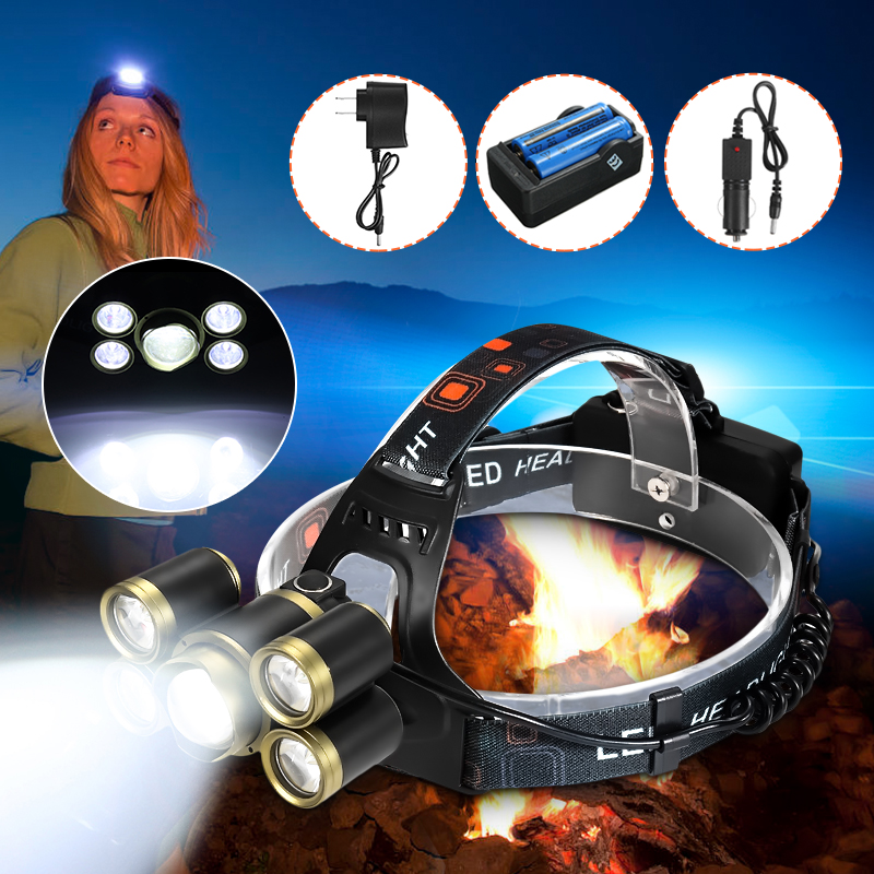90000lm LED Headlamp 3*T6 4*Q5 Fishing Headlight Waterproof Lamp Light Zoom Flashlight Torch Head 18650 Rechargeable Battery rechargeable cree xml t6 2000lumens zoom head lamp torch led headlamp 18650 battery headlight flashlight lantern night fishing