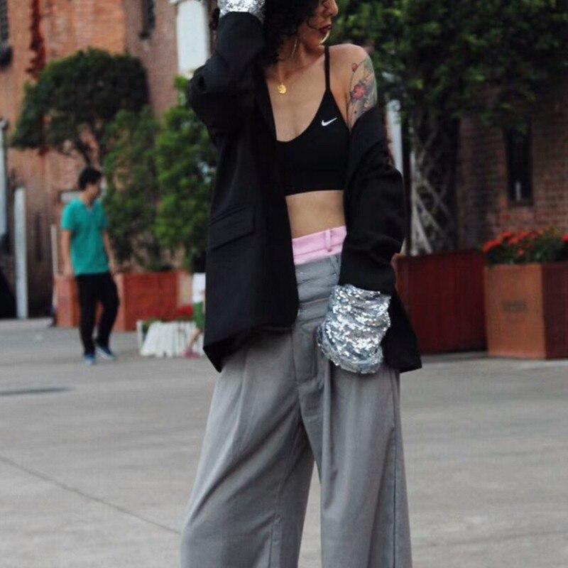 Blazer Décontracté 2018 Paillettes De Manteaux Manteau Style Coat Grande Black Taille Femmes Longues Patchwork Mode Femme Twotwinstyle Manches Vêtements Automne EZqnzfpx