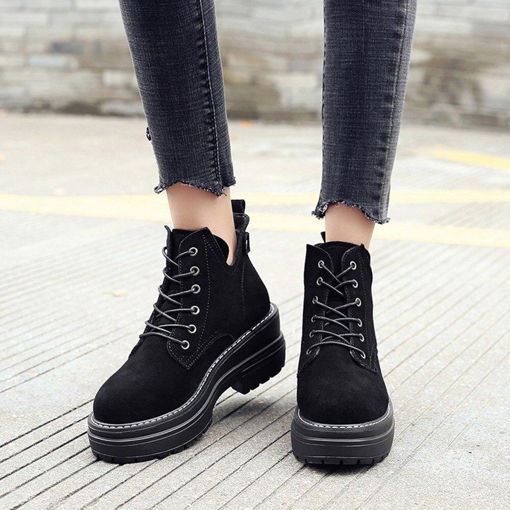 Épais Courtes Muqgew Drop Mode Hiver Rond Chaussures Chaud Beige Style noir Bottes Femmes Bout Ins Shipping Martin xBrCoWeEQd