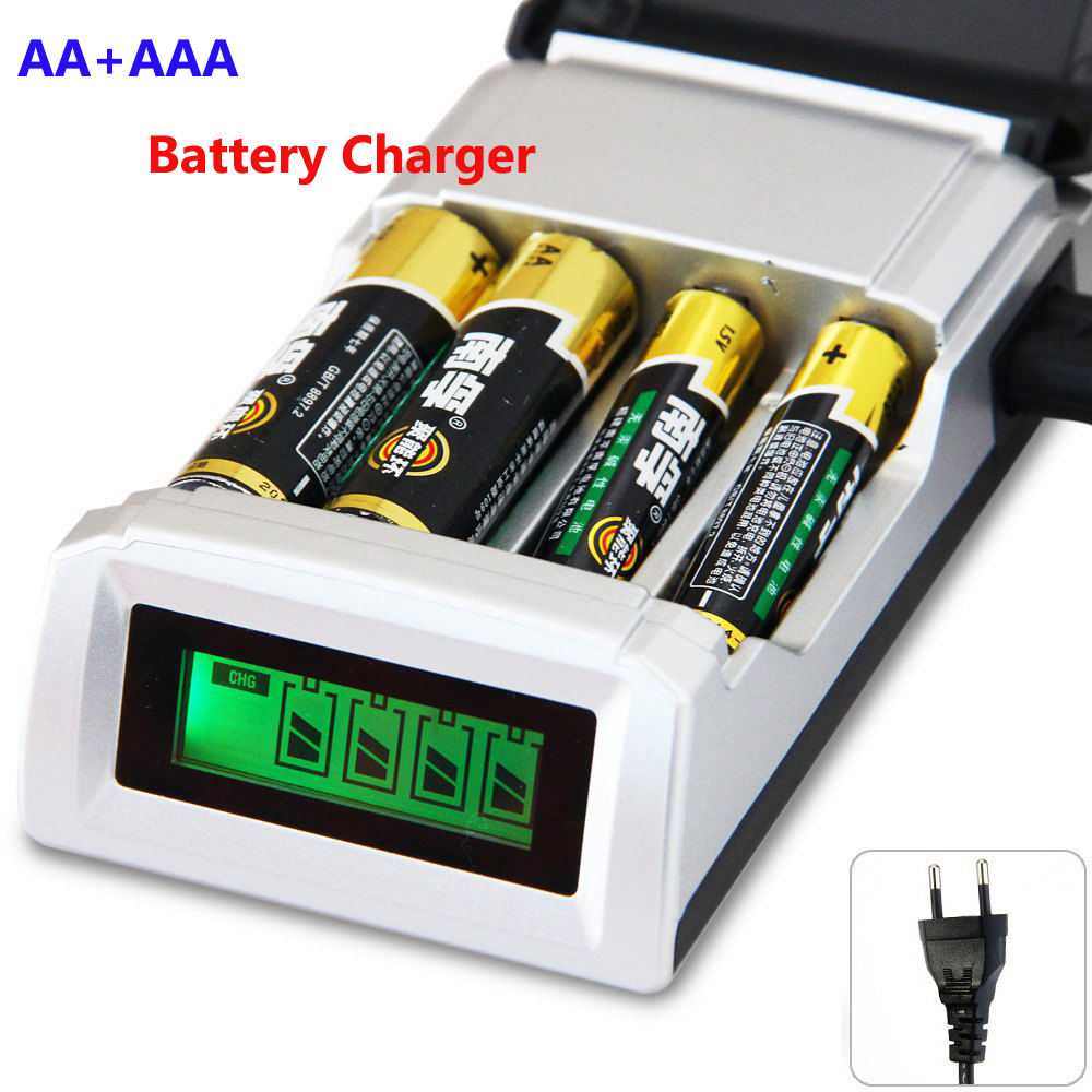 Hot quality 4 Slots LCD Display Smart Intelligent Battery Charger for AA / AAA NiCd NiMh Rechargeable Batteries EU Plug#8175 5 5 x 2cm lcd multifunctional intelligent digital 4 x aa aaa batteries charger black us plug