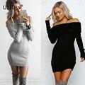 Uzzdss otoño dress bodycon de borgoña de las mujeres fuera del hombro de la colmena atractiva mini vestidos de partido de manga larga otoño dress 2016
