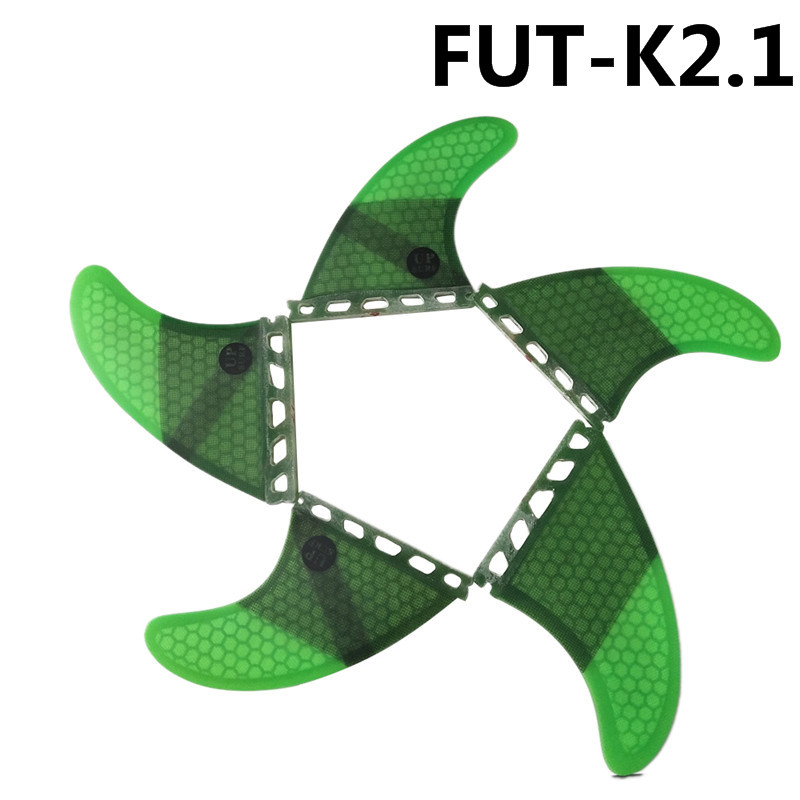 Future Fin K2.1 Surfboard Fins Green Color Fiberglass Honeycomb Tri-Quad Fins Quilhas Thruster 5 Fin Set
