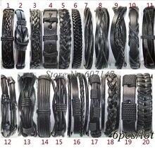Handmade optional Wholesale (6pcs/lot) black genuine adjustable wrap leather bracelets men pulseiras de couro free shipping