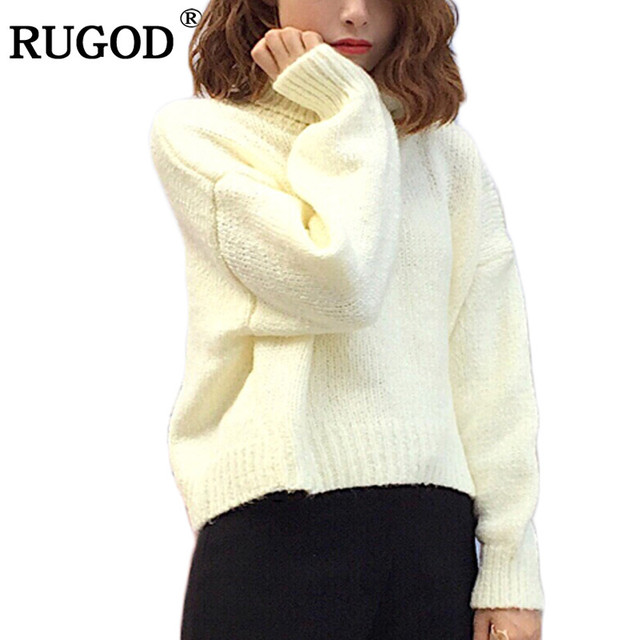 rugod 2018 new sweater women pullovers kintting jumper turtleneck long sleeve knitted sweater warm white christmas