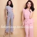 Frete grátis 2016 verão New elegante todo jogo cinza rosa Crinkling colete e calças conjuntos roupas Woemn