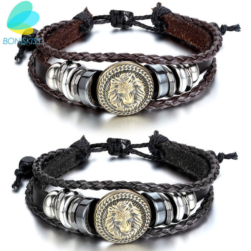 BONISKISS Europe Punk Hand Made Braided Charm Bracelet Bangles Gold Lion Head Wristband Cuff Leather Bracelet For Men Adjustable