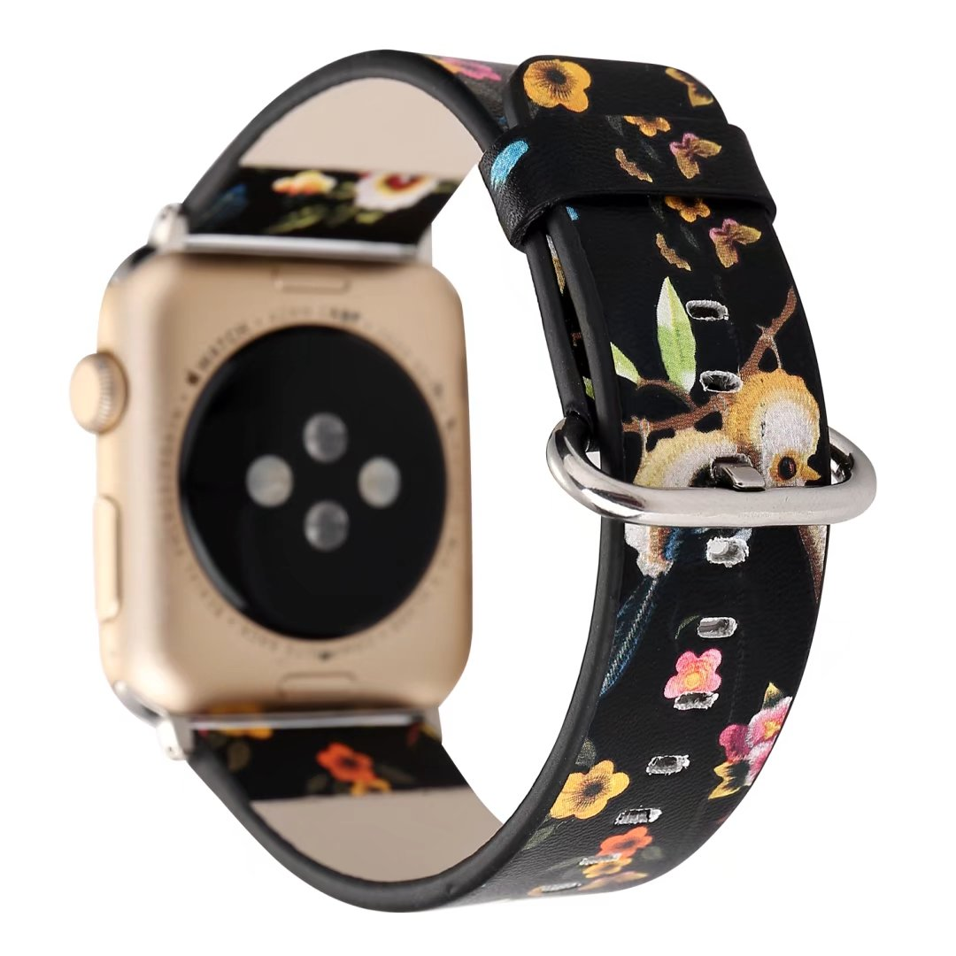 Colorful Bird Flower Print Leather Band for Apple Watch Series 1 2 3 Bracelet Watchband for iWatch 42mm 38mm Strap with Adapters