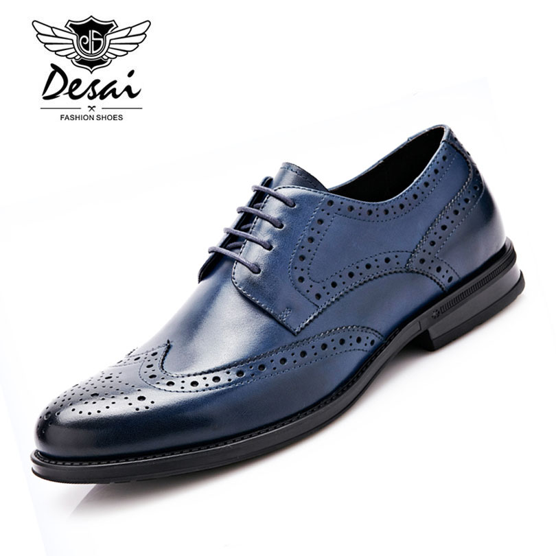 Desai Brand Genuine Leather Shoes Man Lace Up Pointed Toe Brogue Shoes Fashion British Style Wedding Shoes for Men Size 38-43 vintage wine red men dress shoes genuine leather lace up business wedding male shoes retro man fashion pointed toe high heels