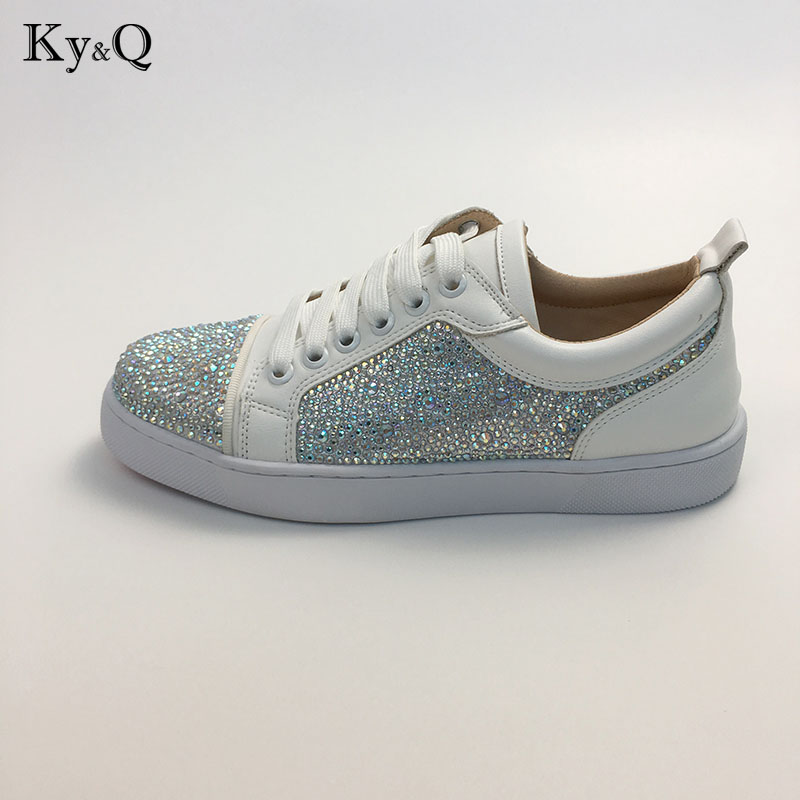 9c44a76e25 Brands Designers Women Casual Shoes Patchwork Bling Diamond Crystal Suede  Upper Sneakers Lace Up Flat Rubber Shoes