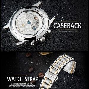 Image 5 - ホットドロップ配送スケルトントゥールビヨン機械式腕時計メンズ自動ローズゴールドフル鋼機械式腕時計リロイ Hombre