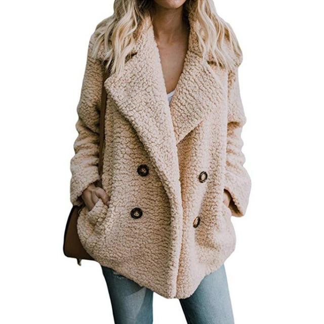 Solid Coat Women Autumn Spring Wide Lapel Loose Warm jacket Outwear Female Casual Jumper Ladies Loose Blend Coat Faux fur Ladies 2