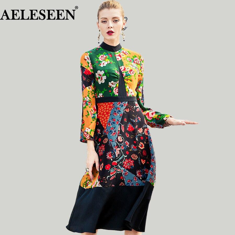 Bohemain XXL Women Silk Summer Dress 2018 Runway Fashion Turtleneck Belt Ethnic Dresses Floral Print Patchwork Long New Dress silk