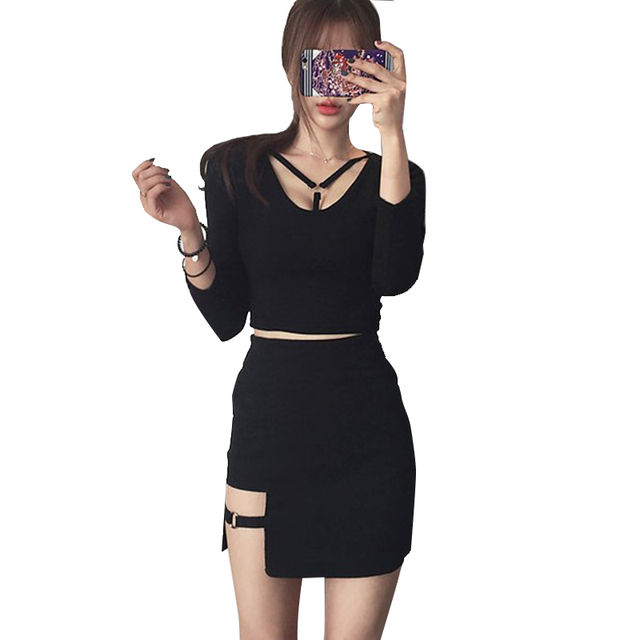 Korean women personality iron ring hip Empire dress irregular sexy black dress large size fashion Knee-Length Gothic A-Line 1