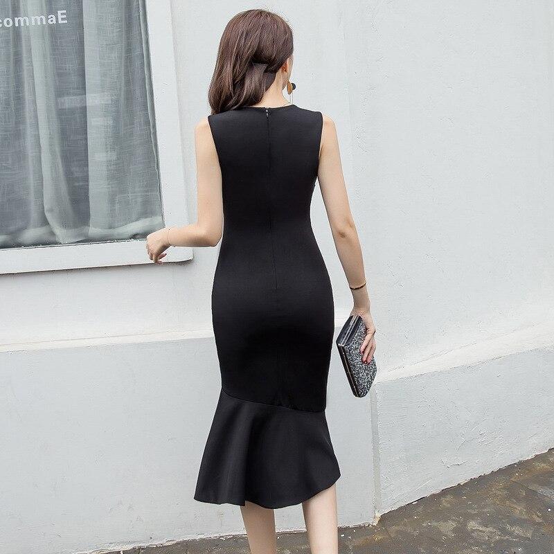 Cou Personnalité Sexy Street Robes Femme Fashion Noir Asymétrique Manches O Sans L'europe High Élégante Moulante Femmes Nouvelle Robe nZYwHY