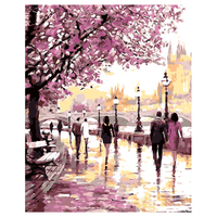 No Frame Cherry Blossoms Road Diy Oil Painting By Numbers Kits Wall Art Picture Home Decor