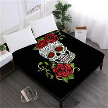 Girls Sweet Halloween Bed Sheet Sugar Skull Fitted Sheet Rose Flowers Print Bedclothes Mattress Cover Day of the Dead D40 цена