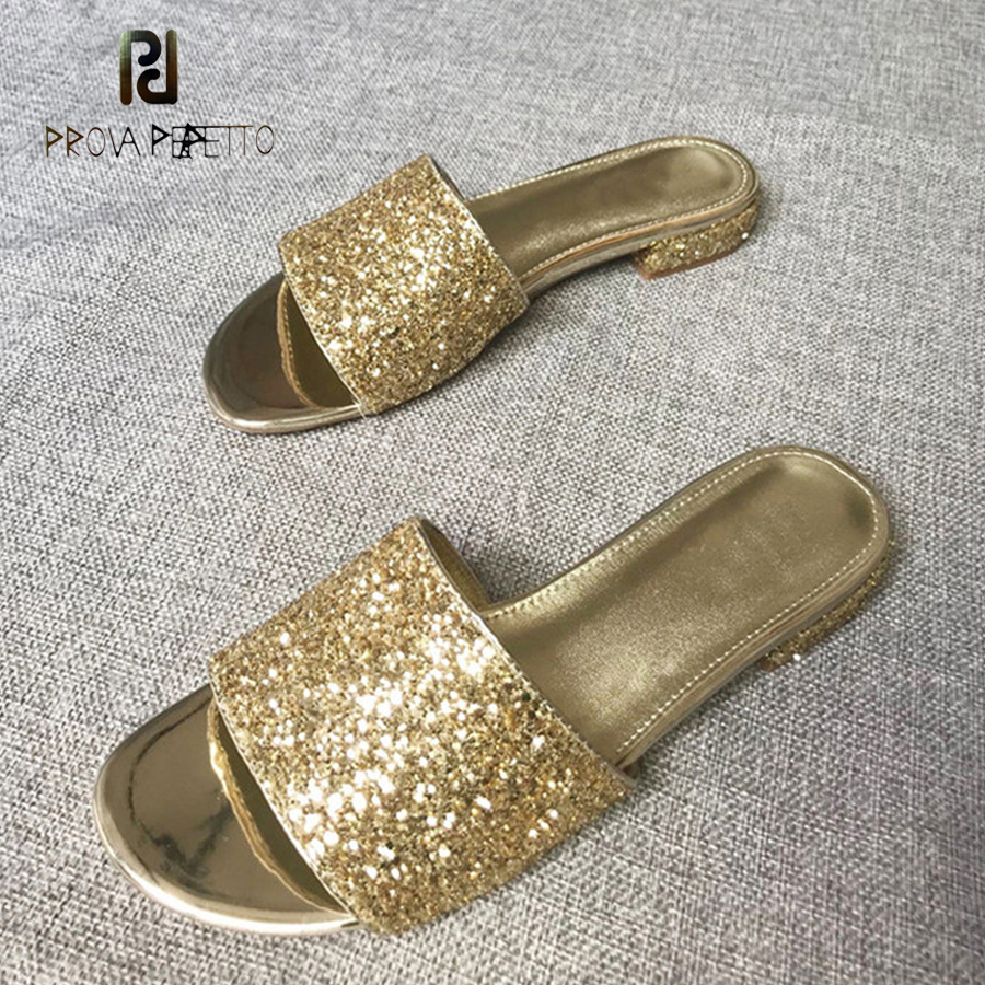 Prova Perfetto fashion summer bling bling sequined cloth women slippers comfort sheepski ...