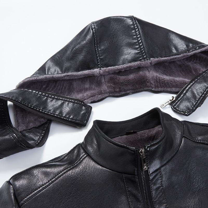 2019 Nouveaux Hommes Veste En Cuir D'hiver Polaire Hommes Doux PU En - Vêtements pour hommes - Photo 5