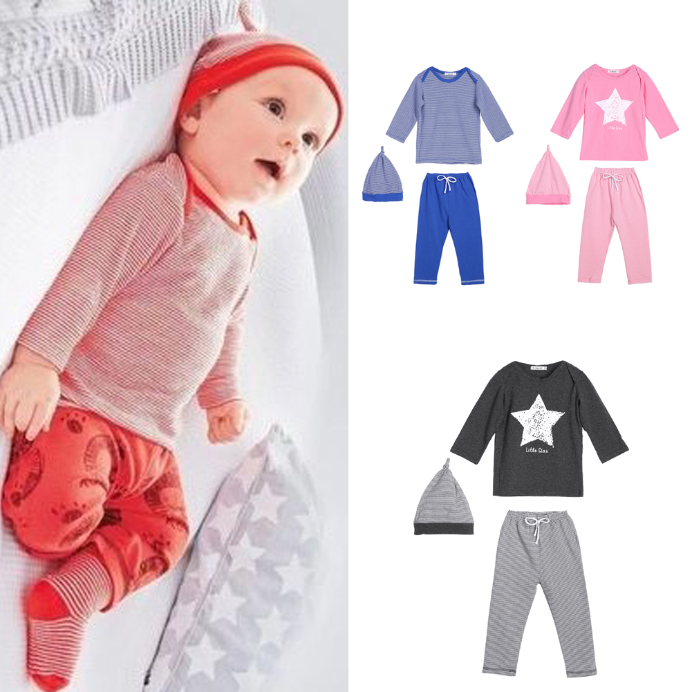 Cute Newborn Baby Girls Boys Clothes Star Printed Tops T-shirt Long Sleeve + Pants Casual Hat Cap 3pcs Outfits Set Spring Autumn baby rompers 2016 spring autumn style overalls star printing cotton newborn baby boys girls clothes long sleeve hooded outfits