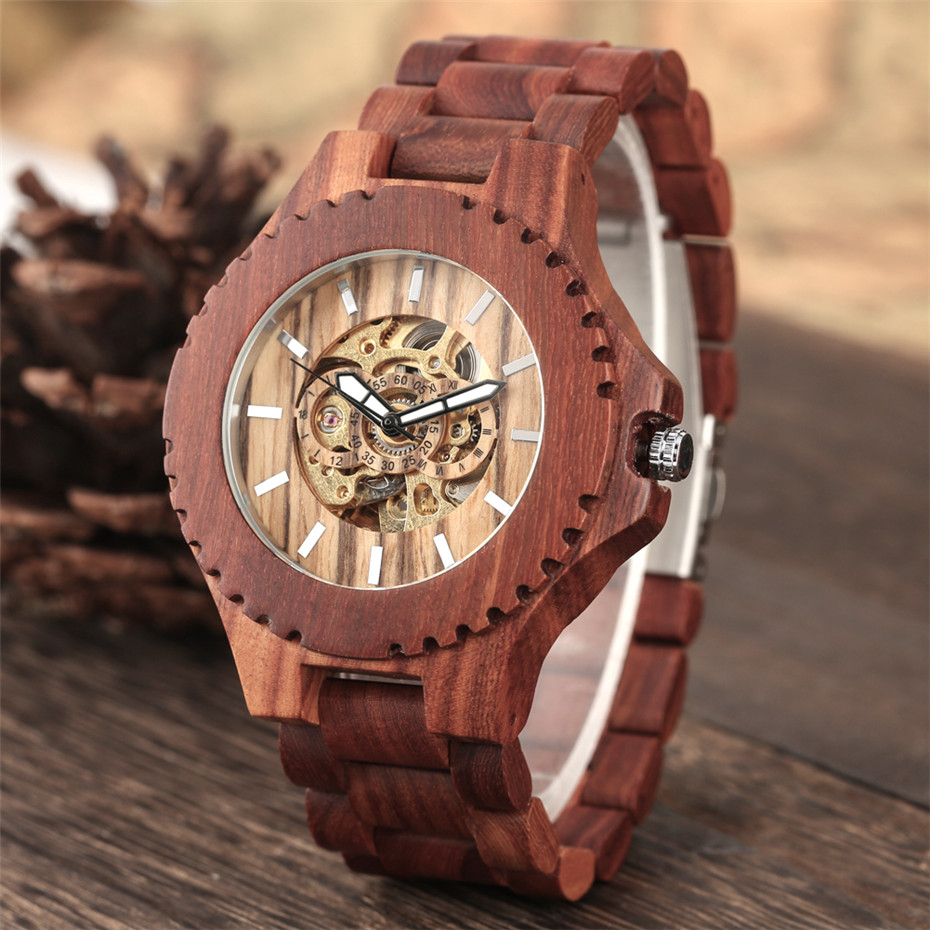 Red Wooden Watch Automatic Timepiece Men's Wooden Bangle Clock Self Winding Mechanical Luxury Mens Watches reloj masculino(China)