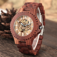 Automatic Watches Men Red Watch Men's Wooden Bangle Clock Self Winding Mechanical Reloj Masculino Mens Watches Top Brand Luxury