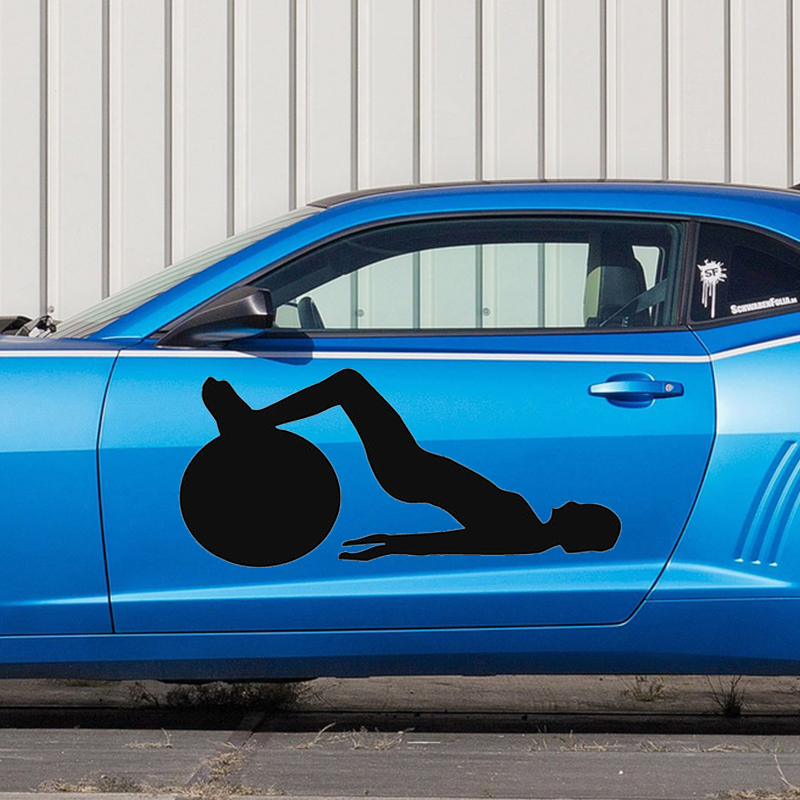 Car Side Decor Vinyl Graphics Decals Sport People Fitness Woman Ball