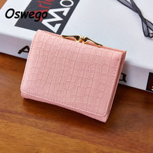 Crocodile Embossed Women Wallet Mini Three Folds PU Leather Hasp Coin Wallet Ladies Purse Female Coin Bags Clutch Billetera