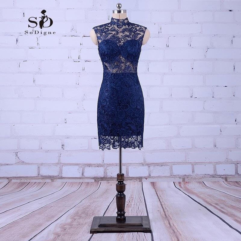 SoDigne Womens Evening Gowns Navy Blue Mermaid Prom Dresses 2018 Lace Short Party Dresses Formal Gowns Vestido De Festas Curto