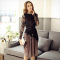 European style elegant temperament women sets high quality suits sleeveless dresses hollow out lace long sleeve shirts B675