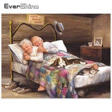 EverShine 5D Diamond Painting Full Square Embroidery Pictures Of Rhinestone Mosaic Home Sweet Old Man Decor