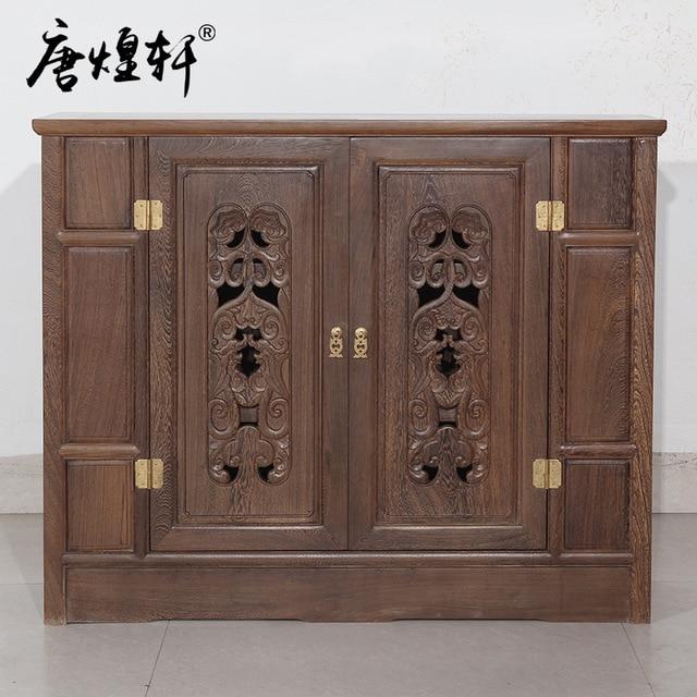 Tang Huang Xuan Chinese Mahogany Furniture Wenge Wood Parion Doors Entrance Hall Cabinet Shoe Lockers Specials