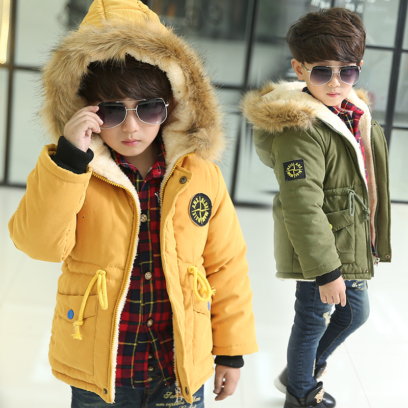 3-10Y Kids boy winter jacket new hooded thermal boys outerwear coat thicken jacket children boy clothing snow wear boys winter jacket cotton padded fur collar hooded long kids outerwear coat thicken warm boy winter coat children clothing
