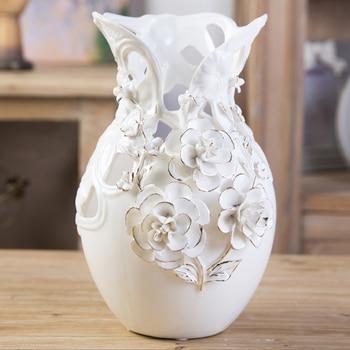 European style living room decorative ceramic vase ornaments wedding housewarming gift gold rose bottle