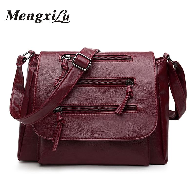 MENGXILU Soft Women Bag Designer Women Crossbody Bags High Quality Women Messenger Bags Luxury Female Pu Leather Handbags