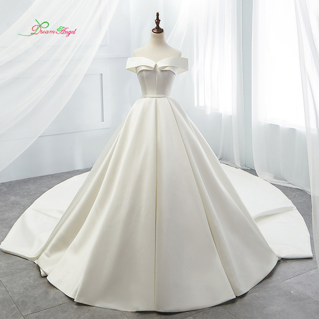 Dream Angel Sexy Strapless Simple Ball Gown Wedding Dresses 2018