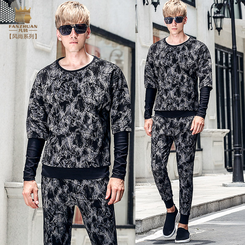 Fanzhuan Free Shipping New Fashion Casual 2017 Male Men's Male Suit Autumn Fake Two-piece Long-sleeved T Shirt Pants Set 711100