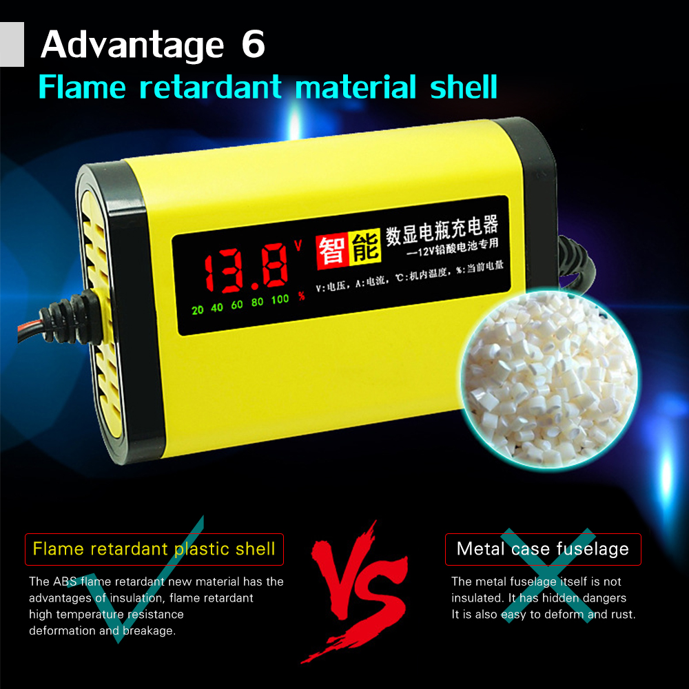 Image 4 - 12V 2A LCD Display Smart Motorcycle Car Battery Charger Full Automatic 3 Stages Lead Acid AGM GEL Intelligent 12 Volt 10AH 20AH-in Battery Charging Units from Automobiles & Motorcycles