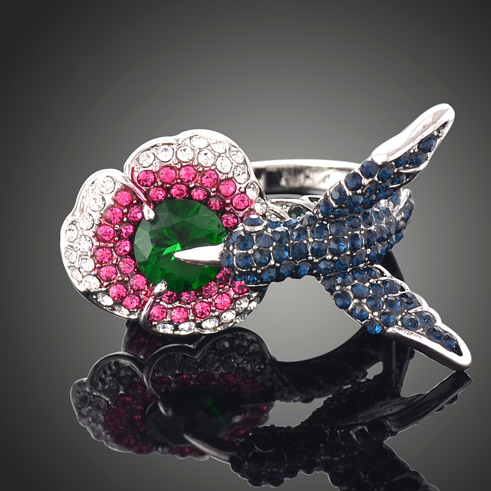 New Multi color Ethnic Floral Diamante Rainbow Flower Over Sized Fashion Rings