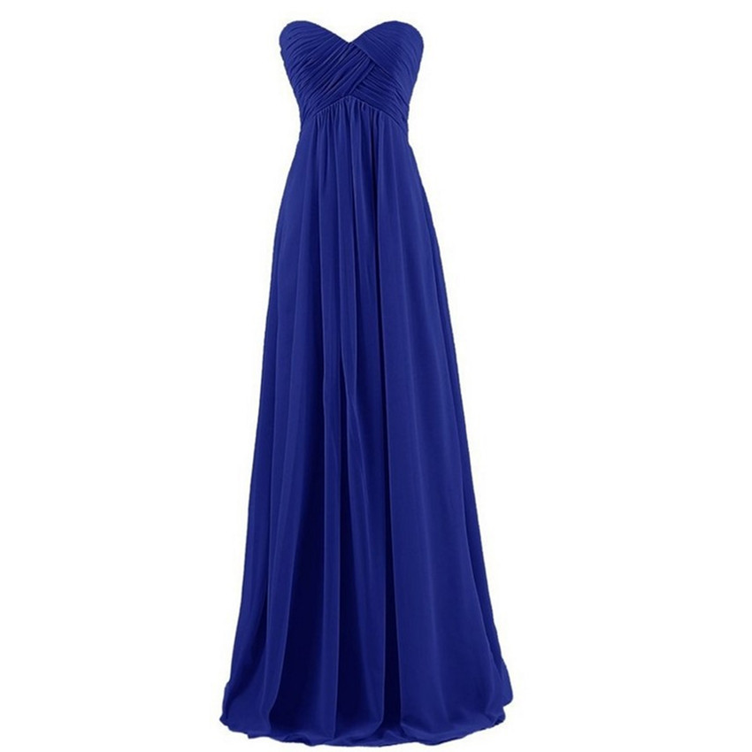 Chiffon Long   Bridesmaid     Dresses   with Pleats 2019 Floor Length Wedding Party   Dress   Royal Blue Purple Grape Pink White Mint
