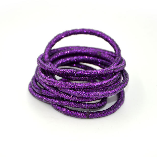 50PCS 4mm Dark Purple glitter elastic hair bands ponytail holders with  gluing connection 70bc8467b10