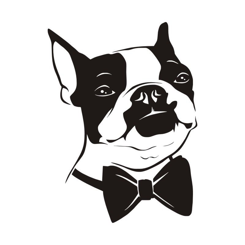 Boston Terrier Dog Removable Wall Stickers Cute Animal
