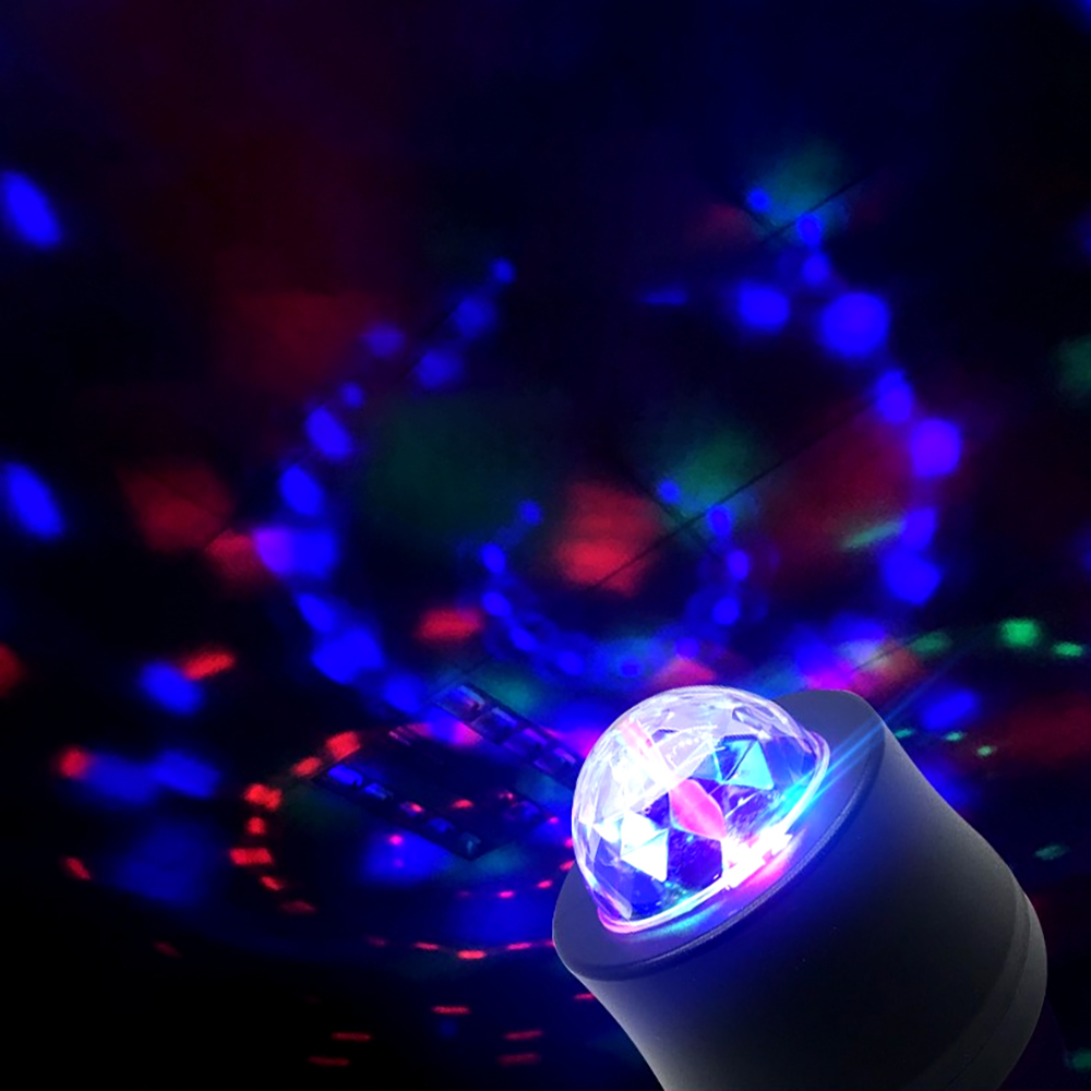 1Set Universal Car-styling DJ Light Windshield LED Music MP3 Club Party Mini RGB Crystal Stage Rotating Bulb with USB Interface 2015 new product mini rotating rgb light 48 leds sunflower led stage light ac100 240v for party bar hotel dj holiday