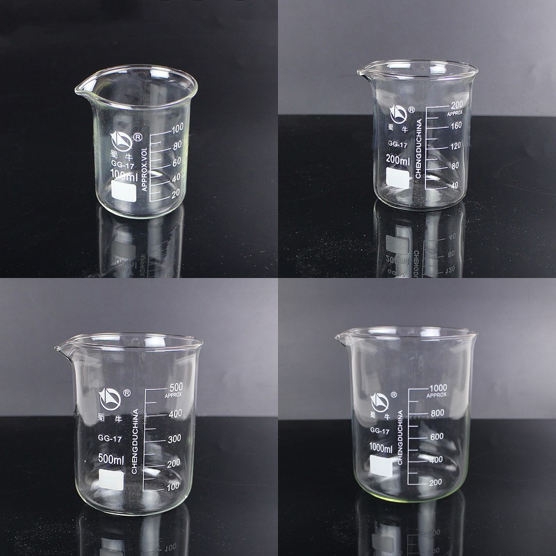 1 Set (100ml,200ml,500ml,1000ml) Borosilicate Glass Beaker Chemistry Experiment Heat-resist Labware Beaker Laboratory Equipment