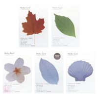 5pcs Plant Leaf Flower Maple Leaves Memo Pad Sticky Notes Bookmark Marker Notepad Kawaii Stickers Message Note 5 Sizes