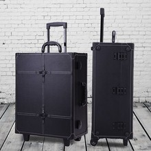 Aluminum with PU panel Studio ToGo Wheeled Trolley Makeup Case & Organizer with Lighted Mirror